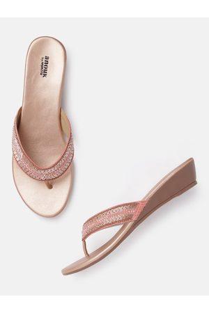 Anouk Pink & Rose Gold-Toned Embellished Ethnic Wedges