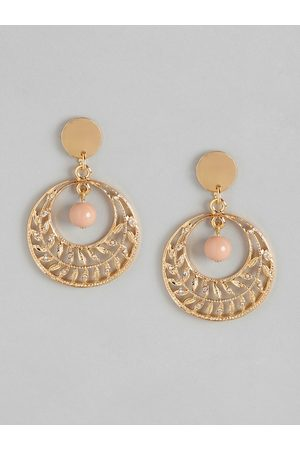 Anouk Beige Gold-Plated Beaded Crescent-Shaped Chandbalis