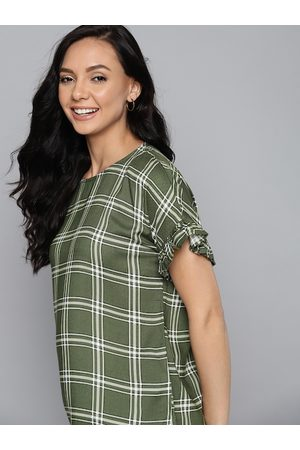 Mast & Harbour Tops - Green & Off White Checked Extended Sleeves Ruffles Top