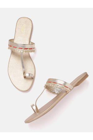 Anouk Women Gold-Toned & Pink One Toe Flats