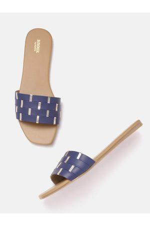 Anouk Women Flats - Women Navy Blue & Gold-Toned Open Toe Flats