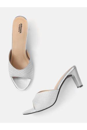 Anouk Silver-Toned Shimmery Textured Open-Toe Block Heels