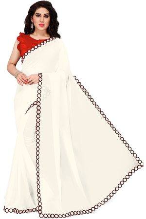 KALINI Women Sarees - Women White & Maroon Solid Georgette Saree