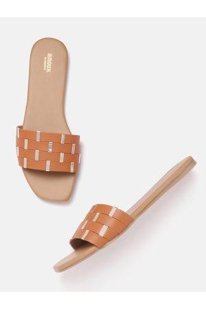 Anouk Women Tan Brown & Gold-Toned Open Toe Flats
