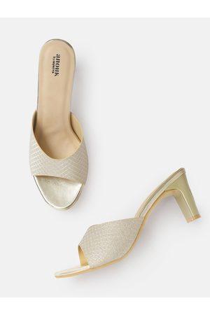 Anouk Gold-Toned Shimmery Textured Open-Toe Block Heels