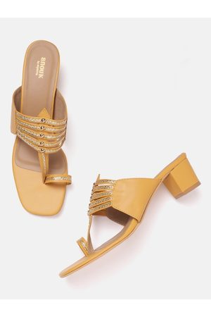 Anouk Women Mustard & Gold-Toned Braided Woven Design Handcrafted One-Toe Block Heels