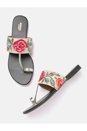 Anouk Women Flats - Women Gold-Toned & Pink Floral Embroidered One Toe Flats