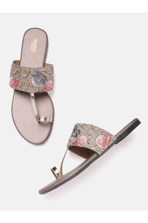 Anouk Women Grey & Gold-Toned Floral Embroidered One Toe Flats