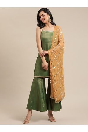 Varanga Women Green Ethnic Motifs Embroidered Regular Kurti with Sharara & With Dupatta