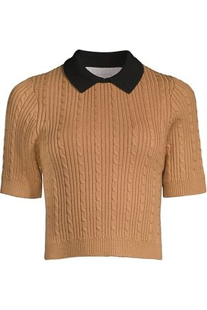 Victor Glemaud Women Polo Shirts - Cable-Knit Crop Polo Shirt