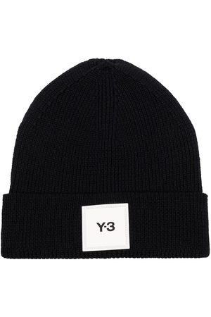 Y-3 Square logo patch beanie hat