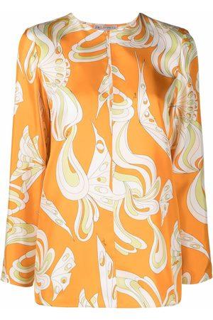 Emilio Pucci Farfalle-print collarless shirt