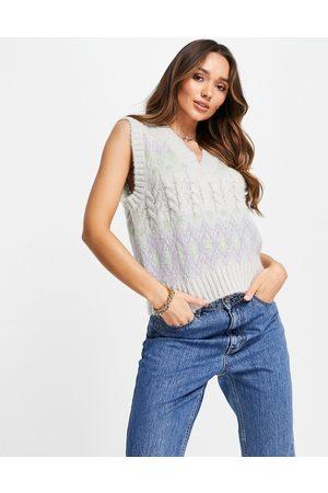 VERO MODA FRSH cable knit argyle vest in pastel