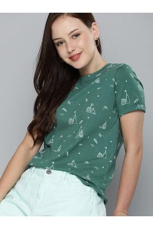 Mast & Harbour Women Green & White Printed Pure Cotton T-shirt