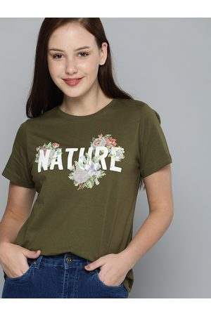 Mast & Harbour Women T-shirts - Women Olive Green Typography Printed Pure Cotton T-shirt