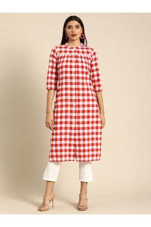 Anouk Women Red & White Checked Kurta