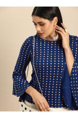 Anouk Blue & Gold-Toned Polka Dot Printed Bell Sleeves Regular Top
