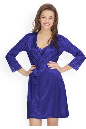 Clovia Women Blue Solid Nightdress with Robe